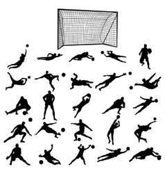 Soccer goalkeeper silhouette set vector image