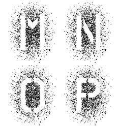 Stencil angular spray font letters m n o p vector