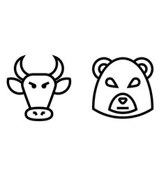 Stock market bulls and bears thin line icon vector
