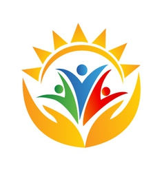 Teamwork people hands and sun logo vector image