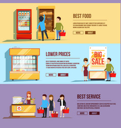 Three horizontal banners with shopping people vector