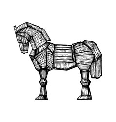 trojan horse engraving vector image vector image