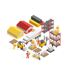 warehouse logistics isometric concept vector image vector image