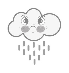 White kawaii thinking cloud raining with eyes and vector