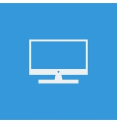 White tv icon on blue background vector image