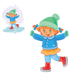winter of small girl ice vector image