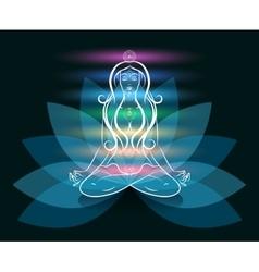Yoga meditation woman lotus silhouette vector