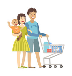 Young parents with baby son shopping in vector