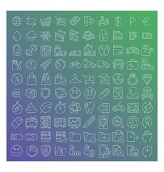 100 clear line icons set vector image