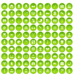 100 medical icons set green circle vector