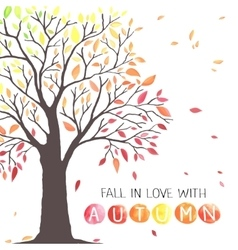 Autumn tree with falling down leaves vector