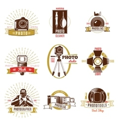 Retro photographer label set vector