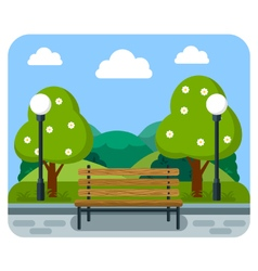 Bench in the park with the lights and trees vector