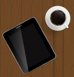 Abstract design tablet coffee on boards background vector