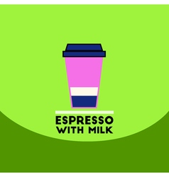 Flat icon design collection espresso with milk vector