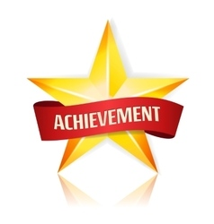 Achievement star with red ribbon yellow vector