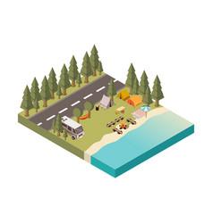 Camp between road and lake vector