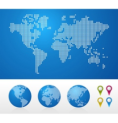Dotted world maps and globes vector