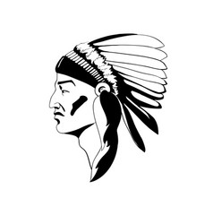 Stylized profile of the indian chief in vector