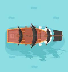 Top view vintage wooden pirate buccaneer vector