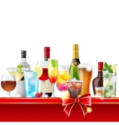 Alcohol cocktails and bottles vector