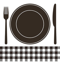 Cutlery plate and tablecloth pattern vector image