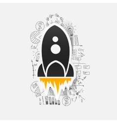 Drawing business formulas rocket vector