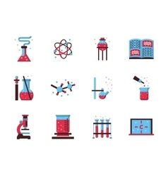 Chemistry science flat color icons vector