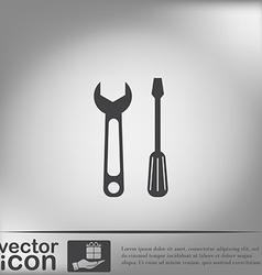 Screwdriver and wrench symbol settings sign vector