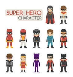 Set of super hero costume characters vector