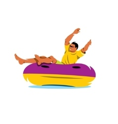 Water tube riding cartoon vector