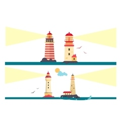 set of lighthouses Cartoon lighthouse with vector image