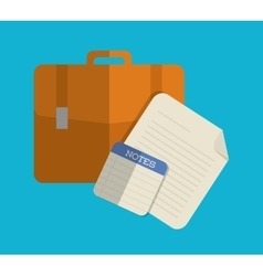 Suitcase and papers icon office design vector
