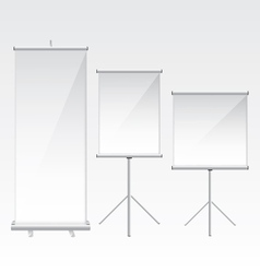 Roll up banner glass vector