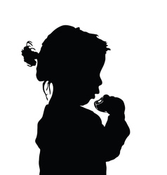 Child eat cake silhouette vector