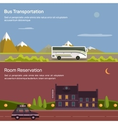 Bus and car with luggage or baggage on road near vector