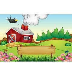 A farm with an empty signboard vector