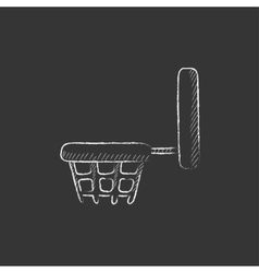 Basketball hoop drawn in chalk icon vector