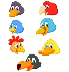 Bird head cartoon collection vector