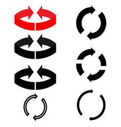 black and red arrows with parts circles in vector image