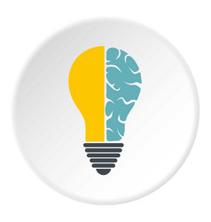 Brain lamp icon circle vector