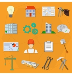 Builder worker construction flat icons vector image vector image