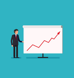 Business man holding whiteboard - presentation vector