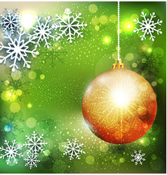 Christmas green background with golden ball vector image