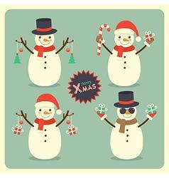 Christmas snowman set vector