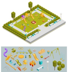 Colored Isometric Playground Composition vector image vector image