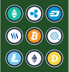 Cryptocurrency symbols inside circles collection vector