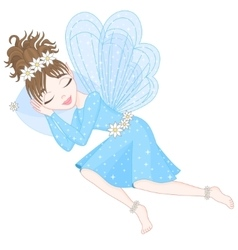Cute fairy in blue dress with transparent wings is vector