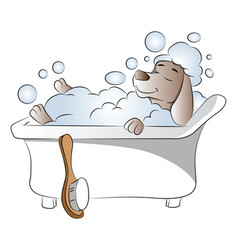 Dog in bathtub vector