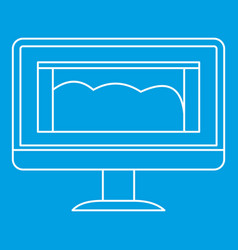 Drawing monitor icon outline style vector